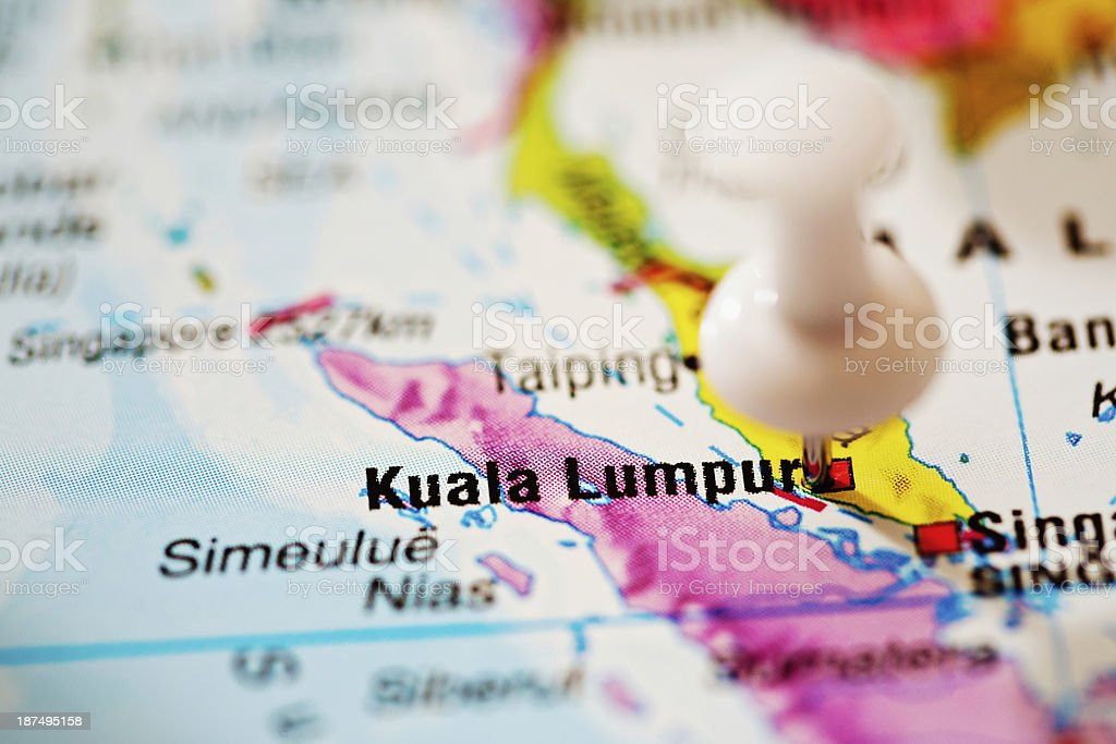 Kuala Lumpur, capital city of Malaysia, pinpointed on map royalty-free stock photo