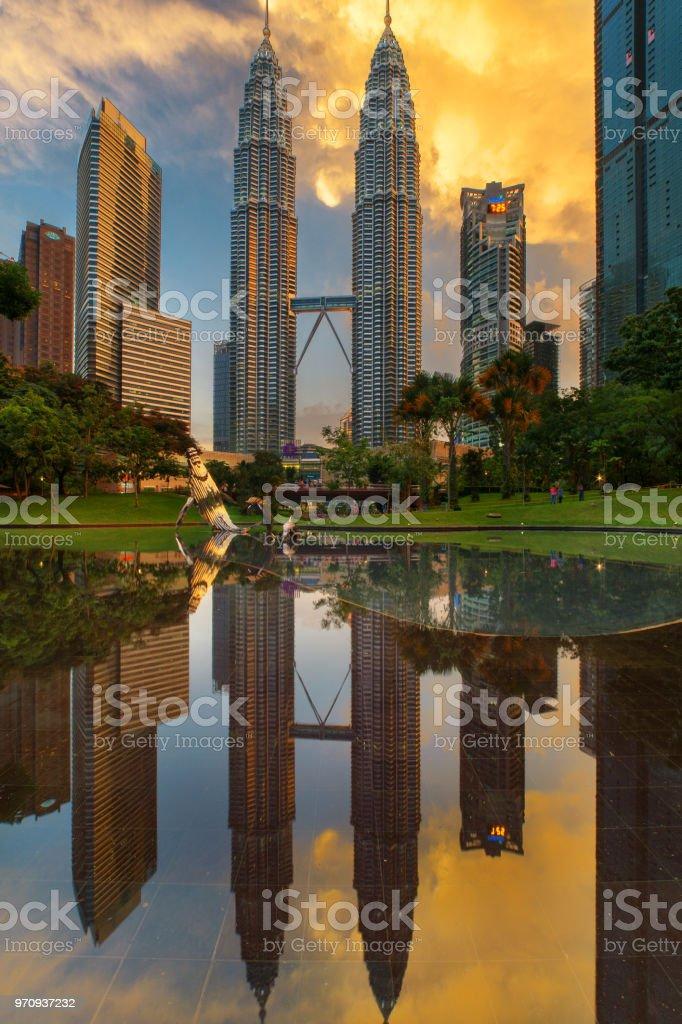 Kuala Lumpur city centre sunset stock photo