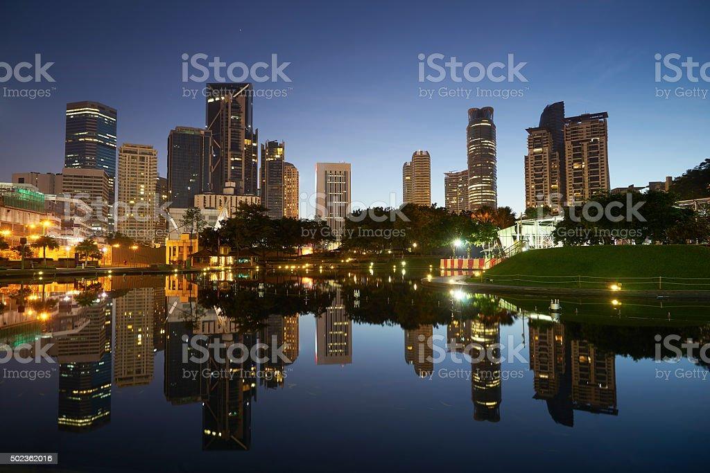 Kuala Lumpur city downtown at before sunrise stock photo
