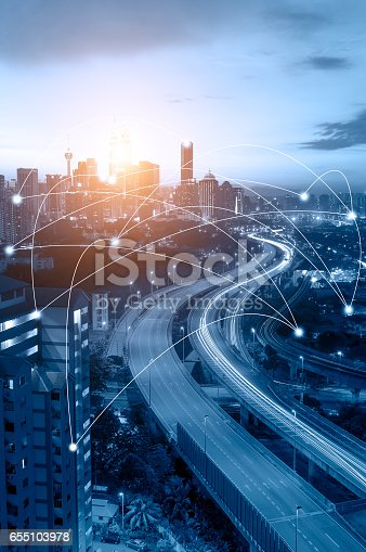 istock Kuala Lumpur cityscape and network connection concept. 655103978