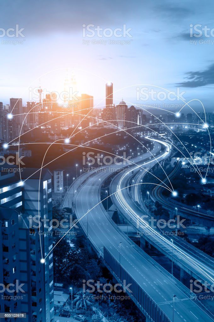 Kuala Lumpur cityscape and network connection concept. stock photo