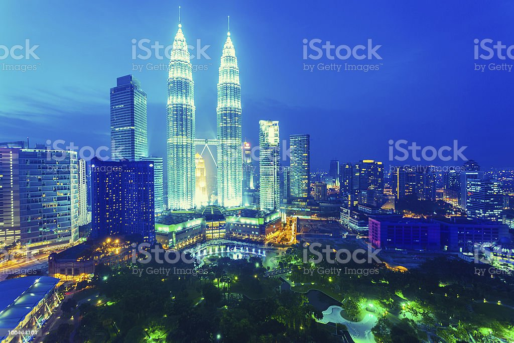 Kuala Lumpur Cityscape and Petronas Towers By Night, Malaysia royalty-free stock photo