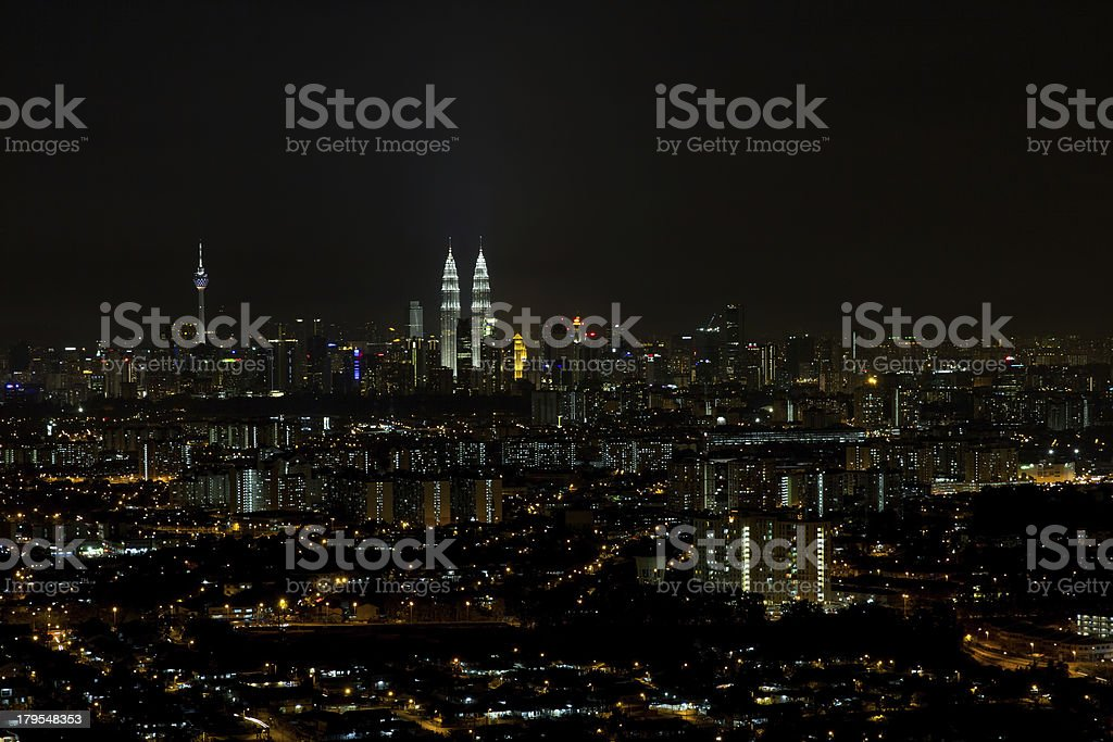 Kuala Lumpur Cityscape at Night Panorama royalty-free stock photo