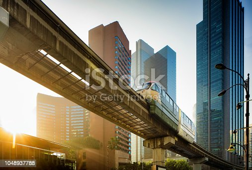 Kuala Lumpur elevated Monorail in Chow Kit back lit by sunrise
