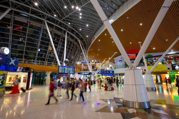 Kuala Lumpur International Airport in Malaysia Kuala Lumpur, Malaysia - May 11 2018: Kuala Lumpur International Airport  is Malaysia's main international airport and one of the major airports in Southeast Asia kuala lumpur airport stock pictures, royalty-free photos & images