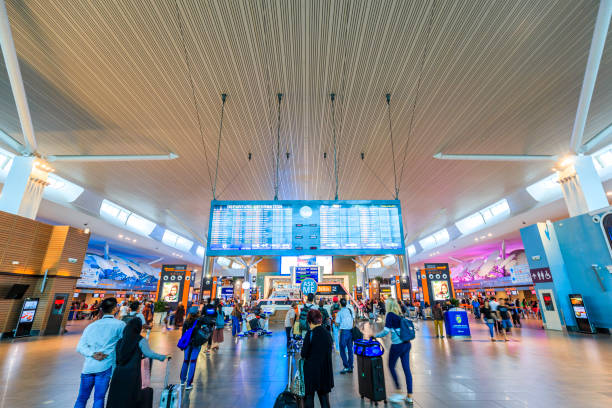 Kuala Lumpur International Airport Kuala Lumpur,Malaysia - May 15,2018 -  Kuala Lumpur International Airport is a leading Asia's aviation hub. Situated in the Sepang district, it is approximately 50km from the capital city of Malaysia, Kuala Lumpur. kuala lumpur airport stock pictures, royalty-free photos & images