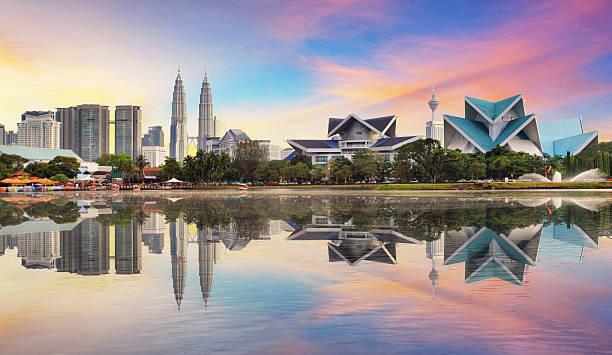 Kuala Lumpur, Malaysia skyline at Titiwangsa Park. stock photo