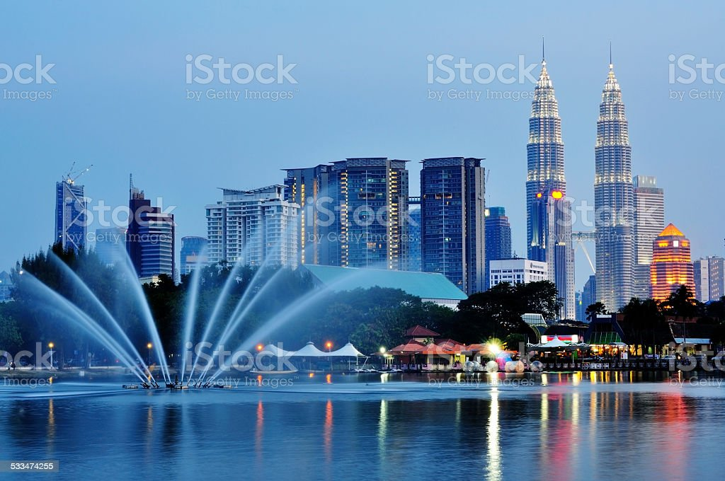 Kuala Lumpur night scenery and reflection stock photo