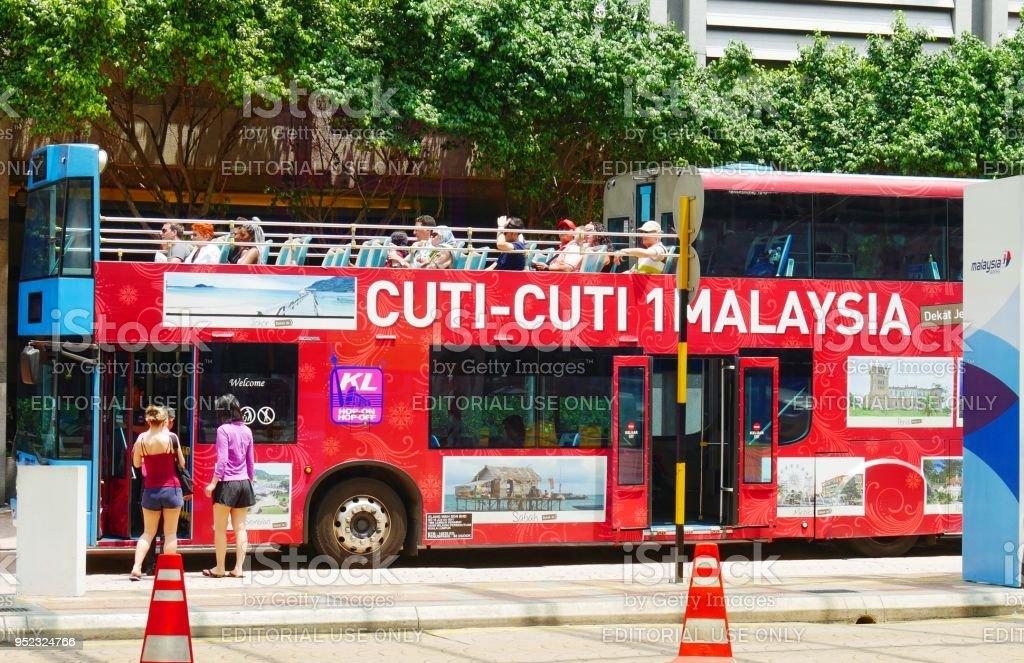 Kuala Lumpur open-top double-decker  Hop-On, Hop-Off city sightseeing bus stock photo