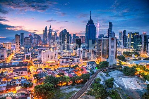 Aerial cityscape image of Kuala Lumpur, Malaysia during sunrise.
