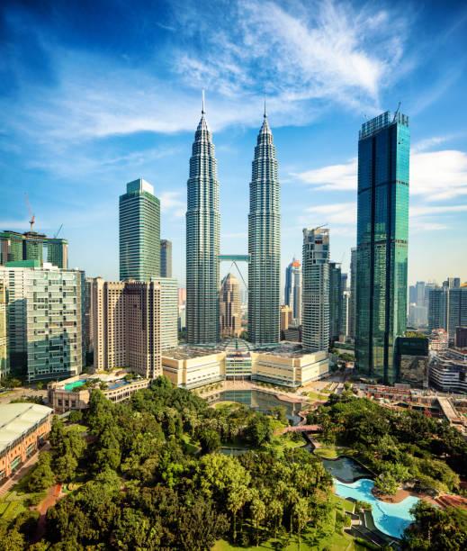 Kuala Lumpur Skyline tagsüber Weitwinkel-Luftbild mit Petronas Türmen – Foto