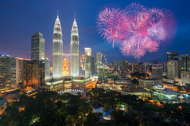 Kuala lumpur skyline with Fireworks celebration New year day 2017 stock photo