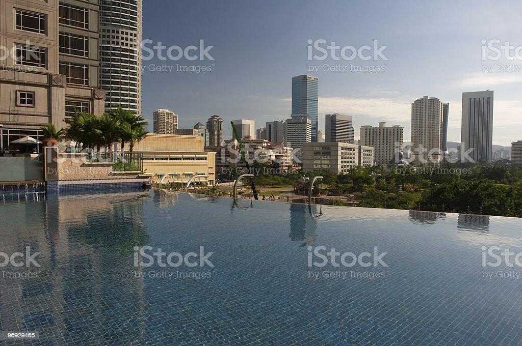Kuala Lumpur skyline with pool royalty-free stock photo