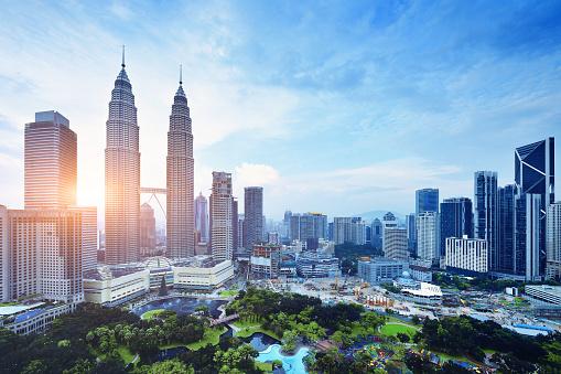 Kuala Lumpur urban scene at sunset, Malaysia.