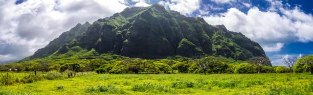 Kualoa mountain range panoramic view, famous filming location on Oahu island stock photo