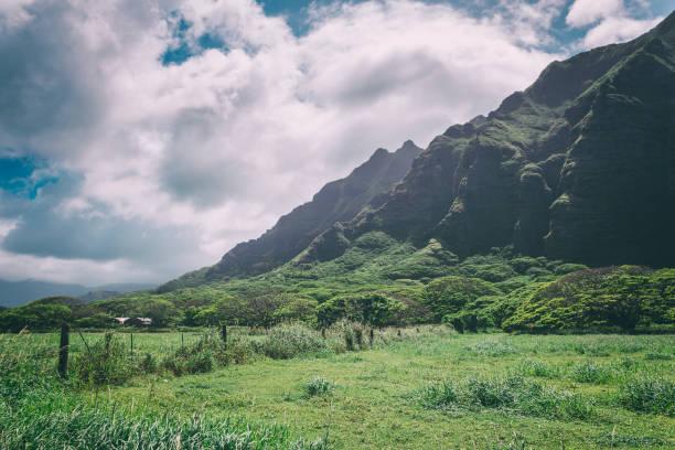 Kualoa mountain range view, famous filming location on Oahu island, Hawaii stock photo