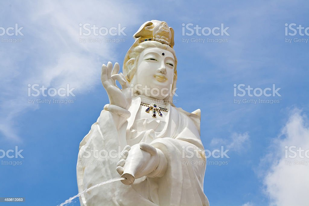 Kuan Yin image of buddha Chinese art on blue sky royalty-free stock photo