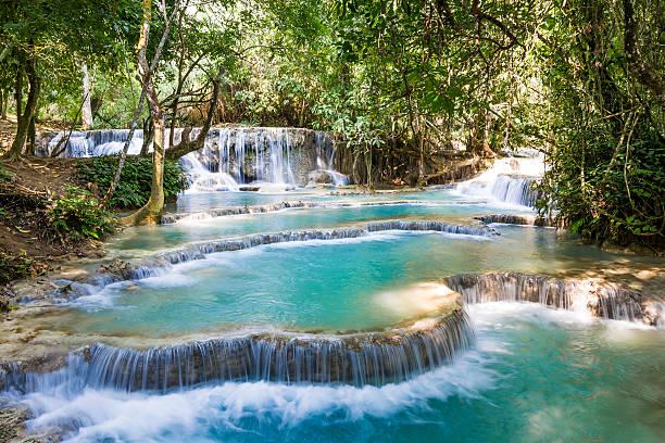 wasserfall kuang si - laos stock-fotos und bilder