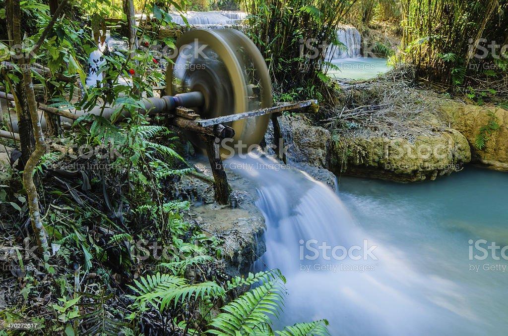 Kuang si waterfall, Tad Kwangsi, Water wheel stock photo