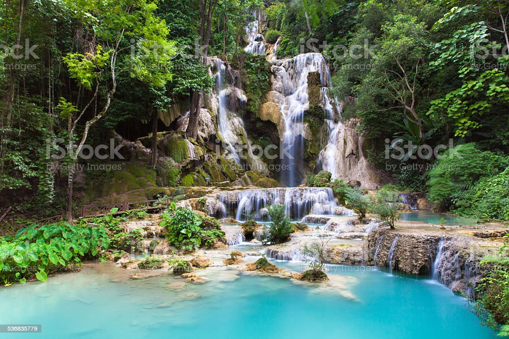 Kuang Si Waterfalls, Luang Phrabang, Laos. stock photo