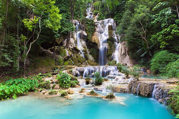 Kuang Si Waterfalls, Luang Phrabang, Laos. stock photo