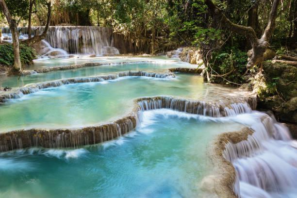 Kuang Si Waterfalls Luang Prabang Laos stock photo