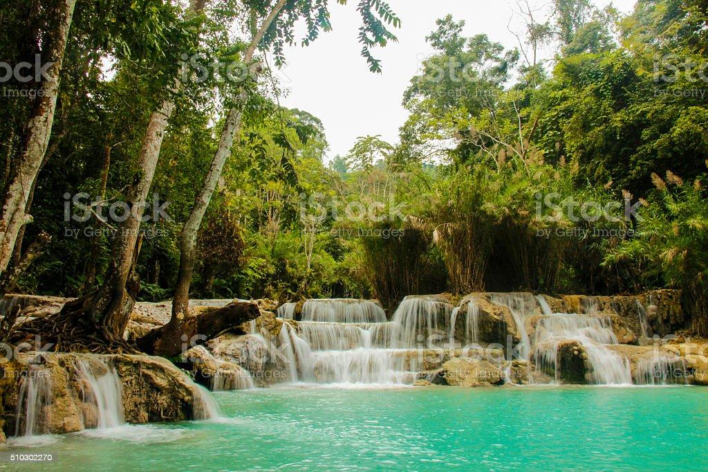 Kuang Si waterfalls stock photo