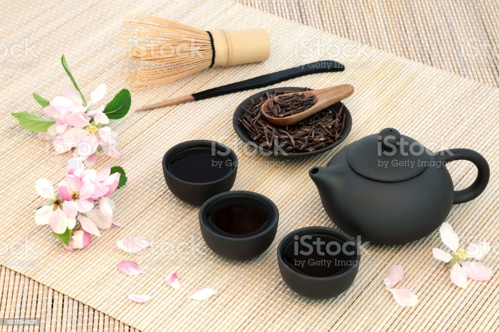 Kuchika Roasted Green Twig Tea stock photo