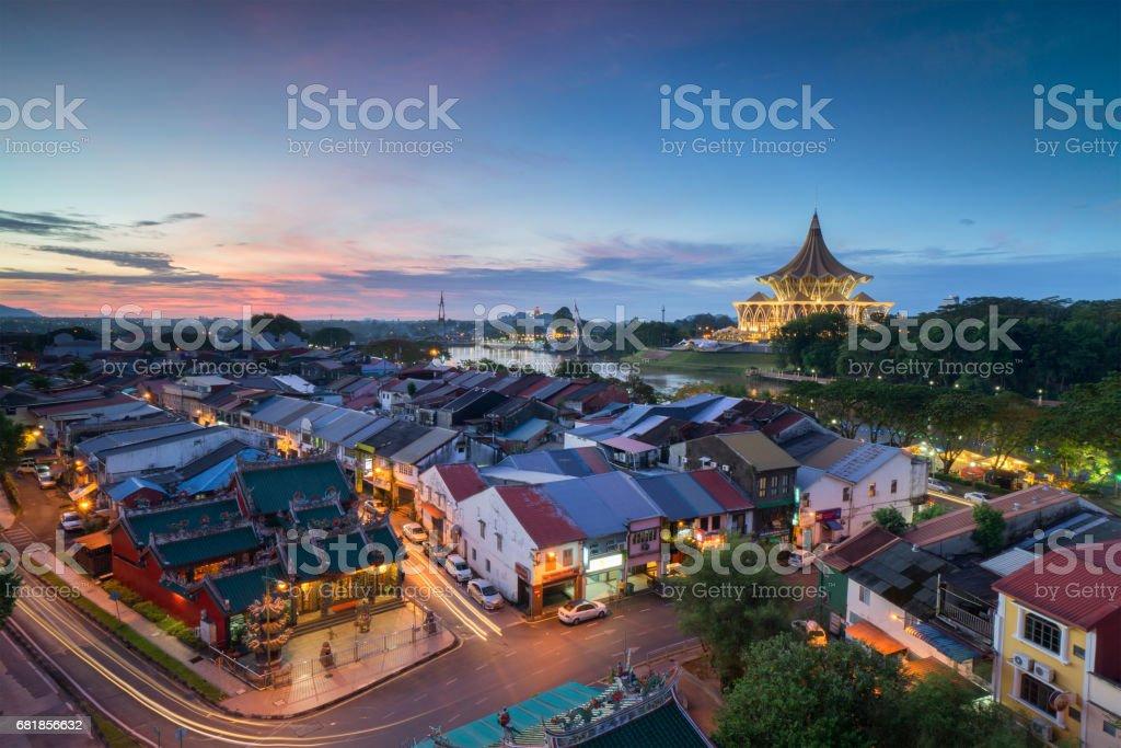 Kuching City during sunset. Kuching is capital city for Sarawak. stock photo