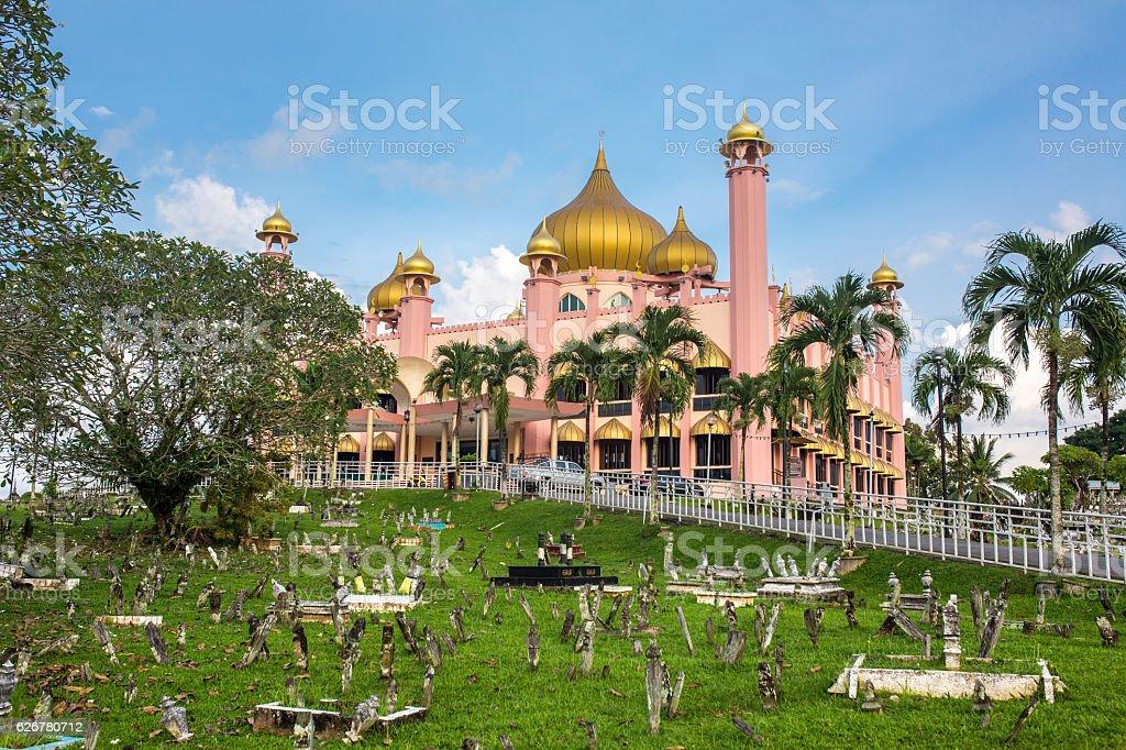 Kuching City Mosque (Masjid Bahagian) at day time, Sarawak, Malaysia. stock photo