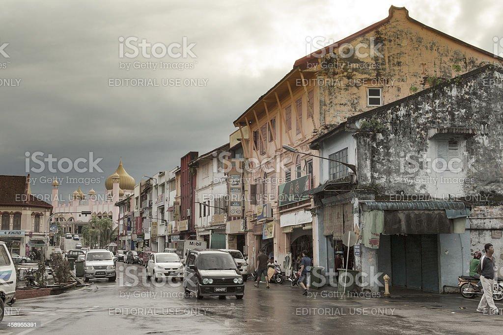 kuching street scene stock photo