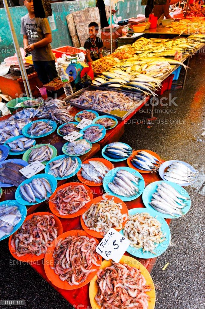 Kuching sunday fish market stock photo