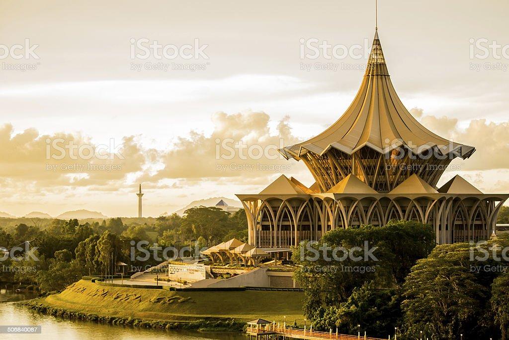 Kuching Sunset Esplanade stock photo