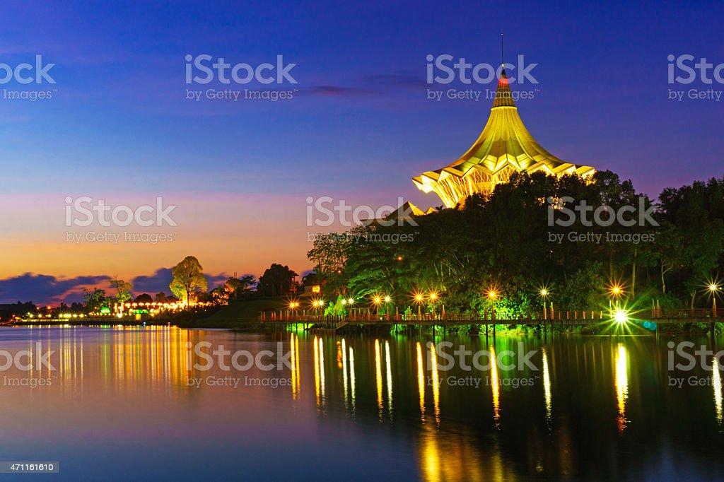 Kuching Waterfront at Dawn stock photo