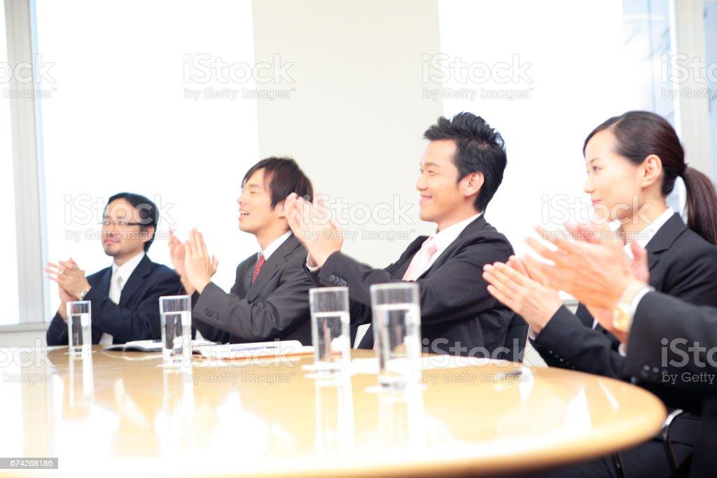 Kudos to businessmen stock photo
