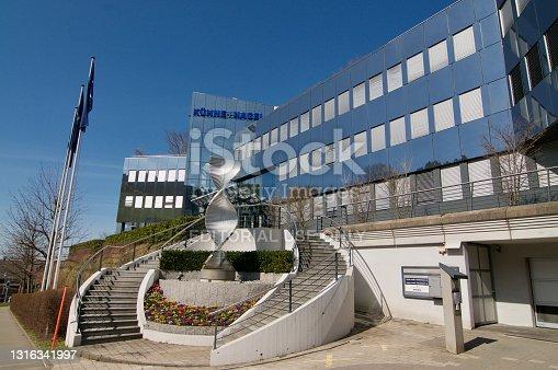 Schindellegi, Zurich, Switzerland - 28th March 2021 : Kuehne + Nagel International headquarters building in Schindelleggi. Kuehne + Nagel International is a global transport and logistics company