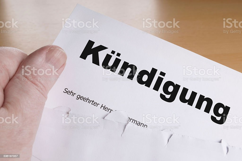 Kuendigung stock photo