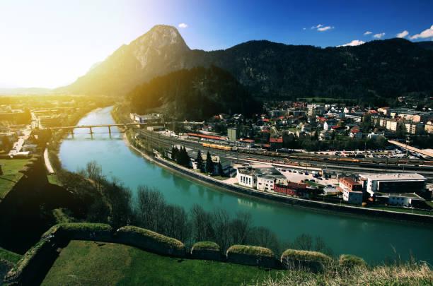 Kufstein town with Inn river in Austria stock photo