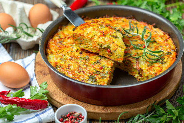 Kugel is a traditional vegetable casserole. stock photo