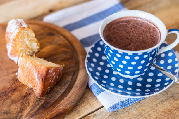 Kugelhupf cake with hot chocolate, close up stock photo