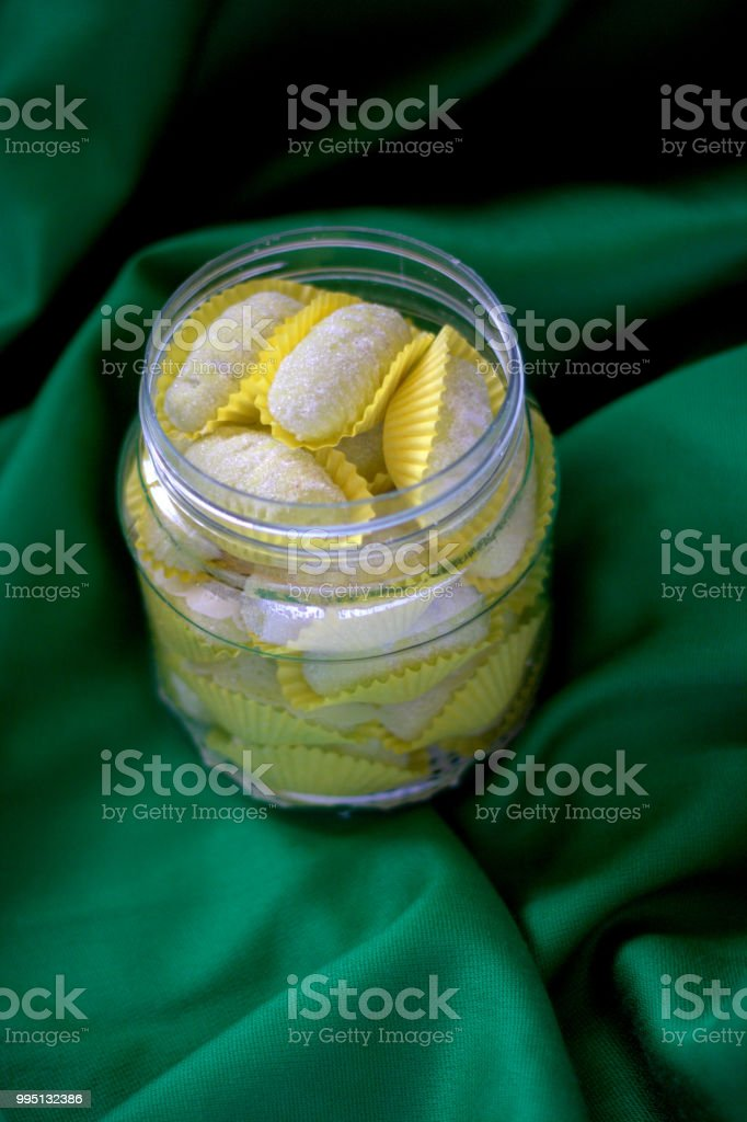 Kuih Raya Ulat bulu or snack during Eid celebration stock photo