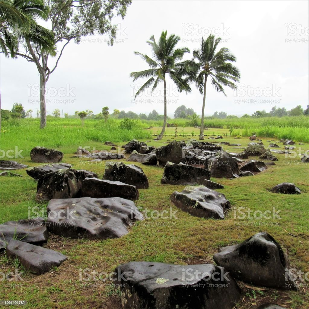 Kukaniloko - Ancient Hawaiian birthing stones located in Central Oahu, Wahiawa, Hawaii  Smooth birthing stones go back to sometime between 12th and 14th centuries. stock photo