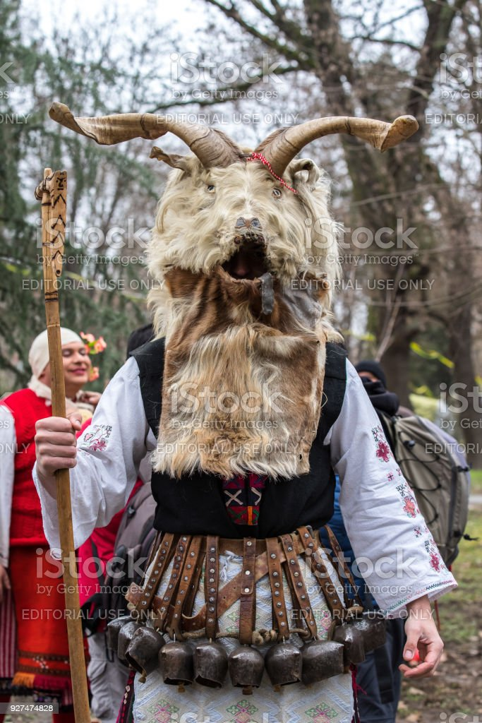 Kukeri. Festival Kukerland 2018 Bulgaria stock photo