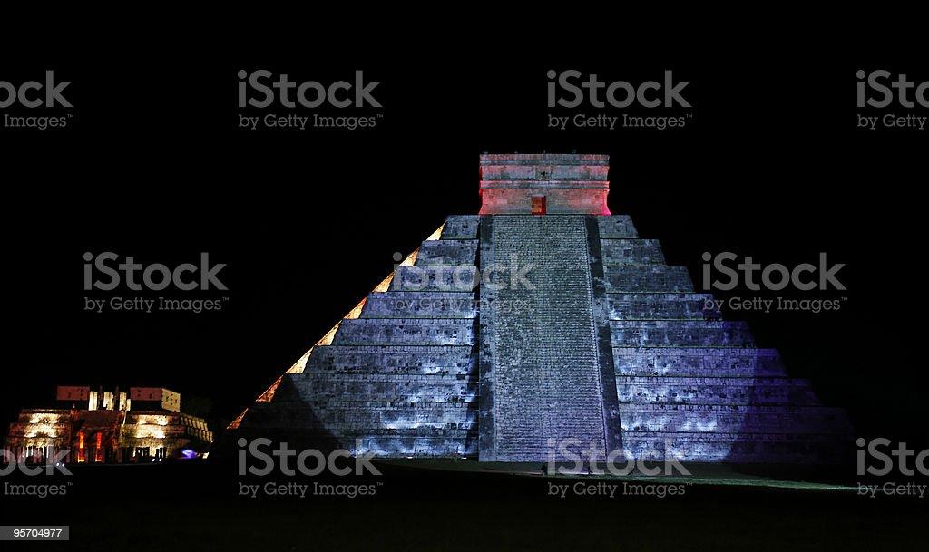 Kukulkan Pyramid of Chichen Itza by night royalty-free stock photo