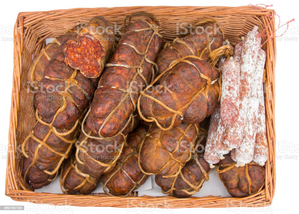 Kulen is famous authentic spicy sausage typical Slavonian dried Meat of the Croatia stock photo