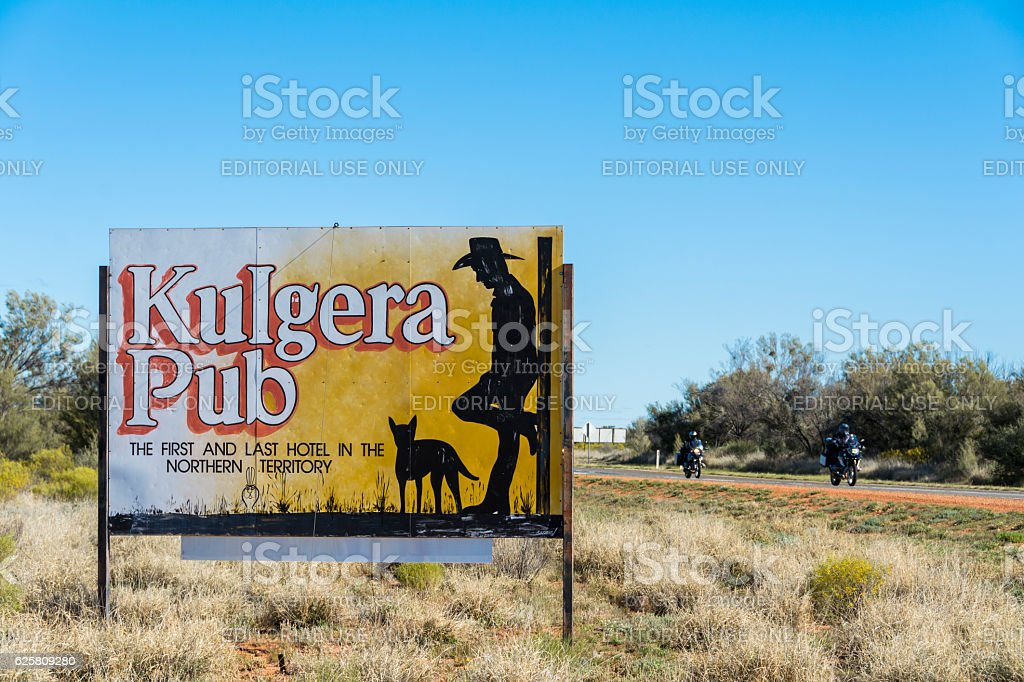Kulgera Pub Sign, Northern Territory, Australia stock photo