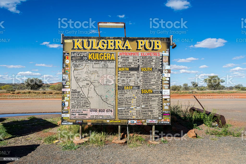 Kulgera Pub Sign, Stuart Highway, NT, Australia stock photo