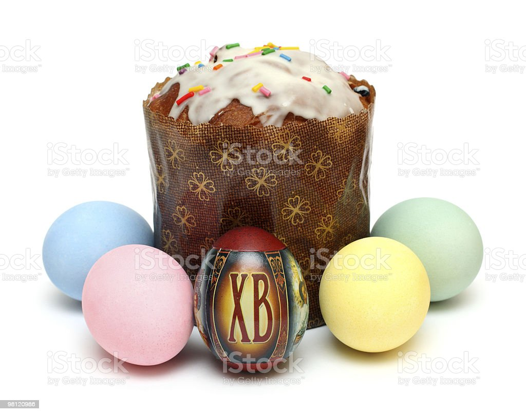 kulich and eggs royalty-free stock photo