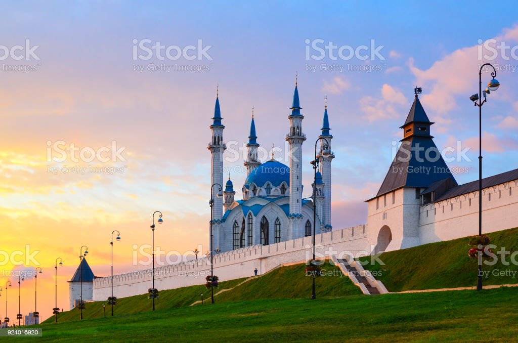 Kul-Sharif Mosque, Kazan Kremlin at sunset, Russia royalty-free stock photo