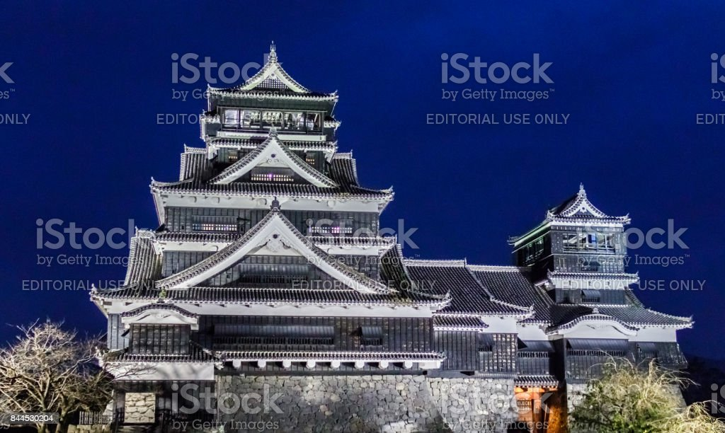 Kumamoto Castle At Night In Kumamoto, Northern Kyushu, Japan. stock photo